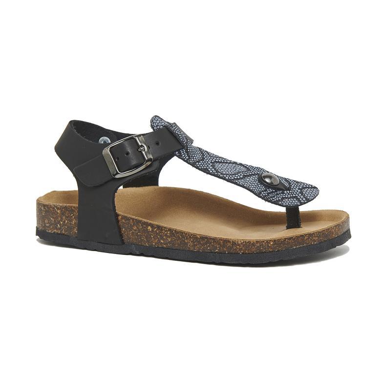 Siyah Vaketa Kadın Deri Sandalet 2010046325003