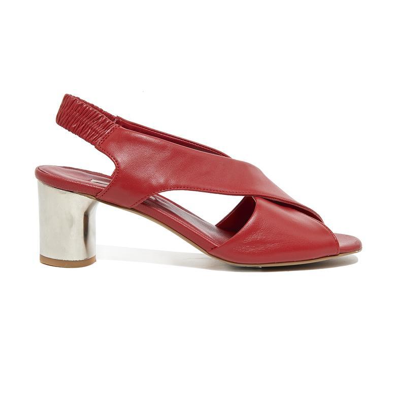 Arrianna Kadın Deri Gümüş Topuklu Sandalet 2010046097006