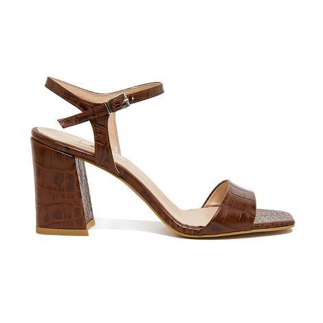 Wulzel Kadın Kroko Deri Topuklu Sandalet 2010046354009
