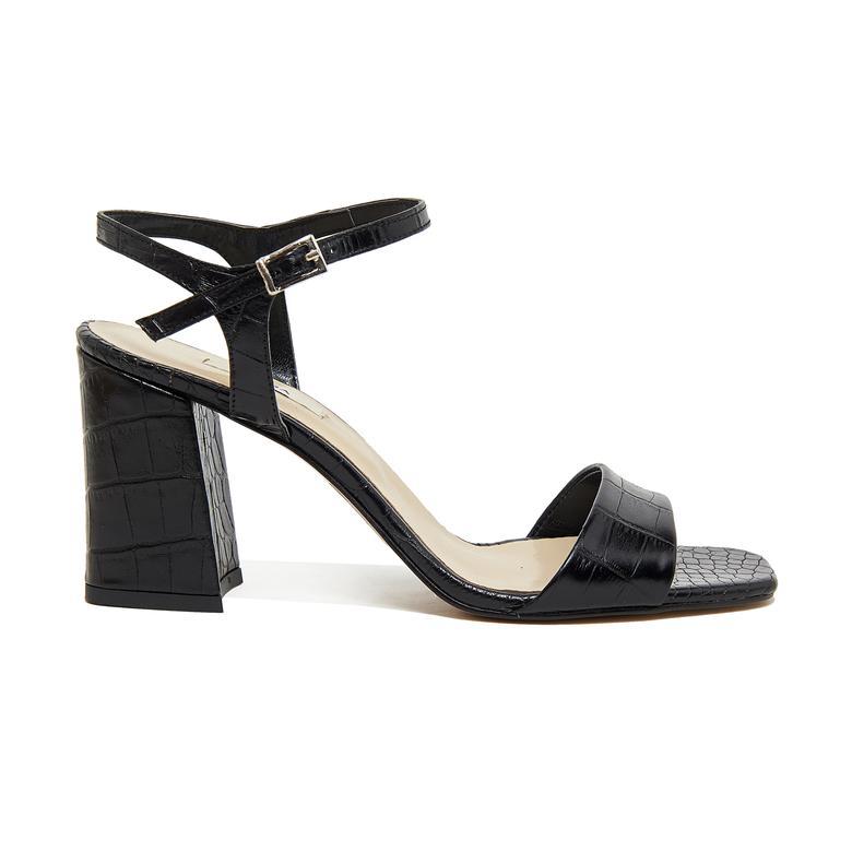 Wulzel Kadın Kroko Baskılı Deri Topuklu Sandalet 2010046354001