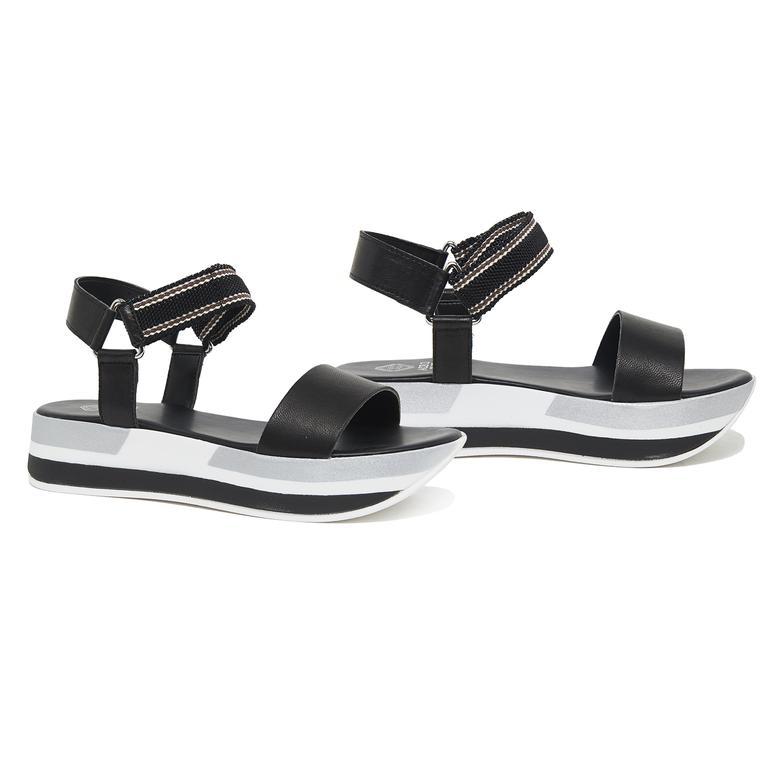 Siyah Daze Kadın Deri Sandalet 2010046202003