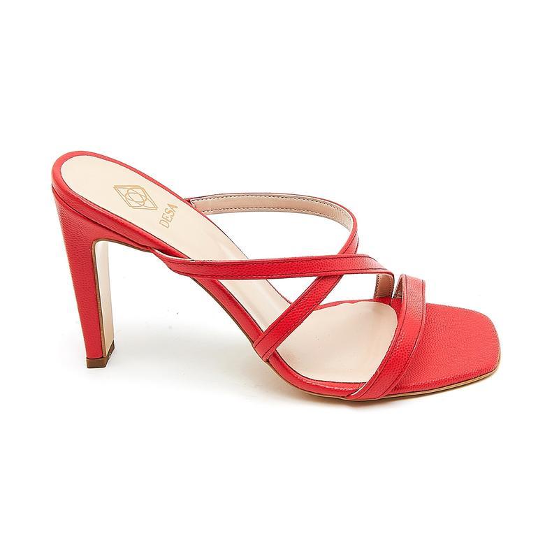 Kırmızı Biga Kadın Deri Terlik 2010046521006