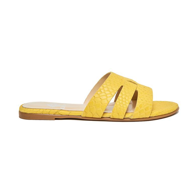 Sarı Sharon Daisy Kadın Deri Terlik 2010046391001