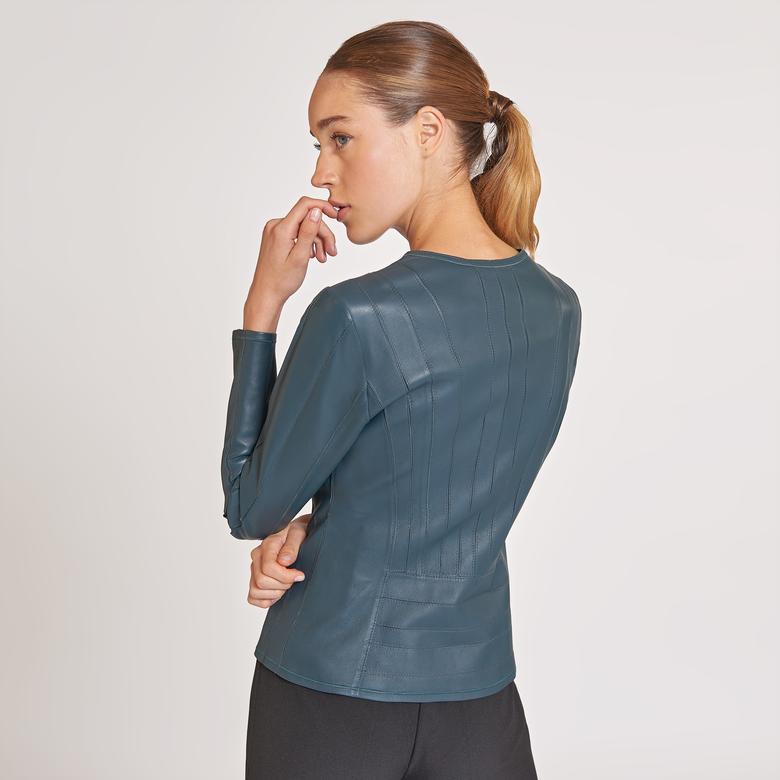 Deundria Kadın Panelli Fit Deri Ceket 1010027241015
