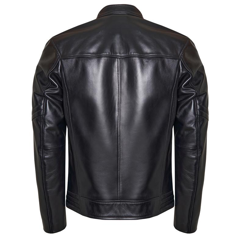 Siyah Agostino Erkek Deri Ceket 1010031352004