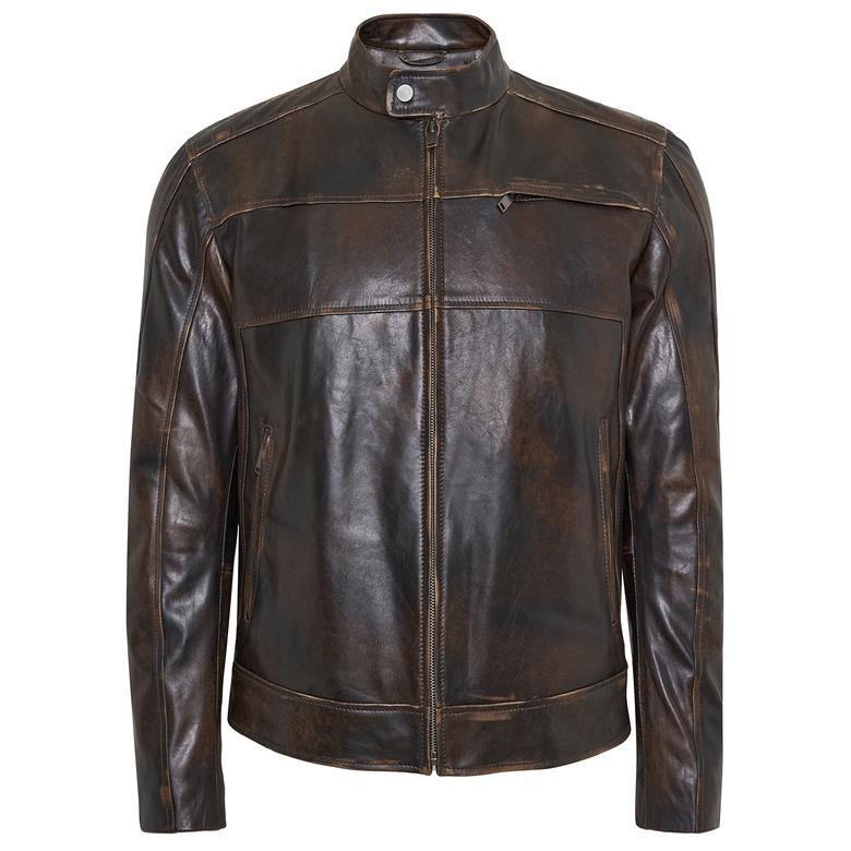 Carlino Erkek Vintage Deri Ceket 1010031330004