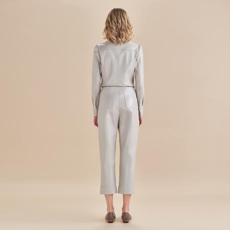 Parker Kadın Yüksek Bel Deri Pantolon 1010031443004