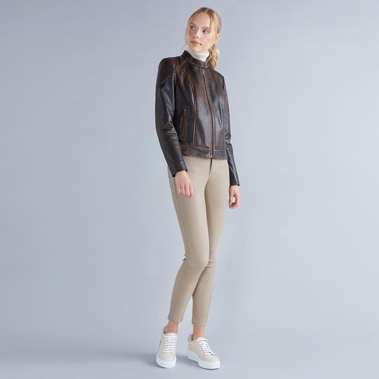 Roisin Kadın Deri Stretch Pantolon 1010028580007