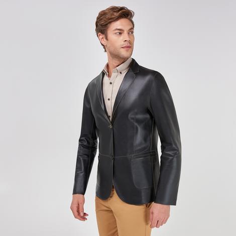 Benny Erkek Çift Taraflı Deri Blazer Ceket 1010031563002
