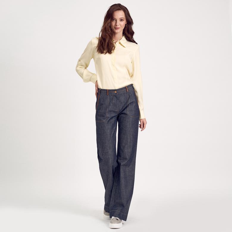 Deri Biyeli Denim Kadın Pantolon 1010007395003