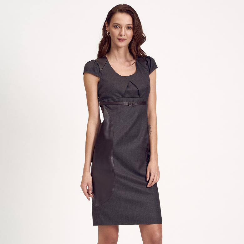 Kahve Deri Kombinli Kadın Elbise 1010007227003