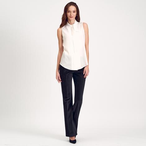 Beyaz Kolsuz Kadın Gömlek 1010016285006