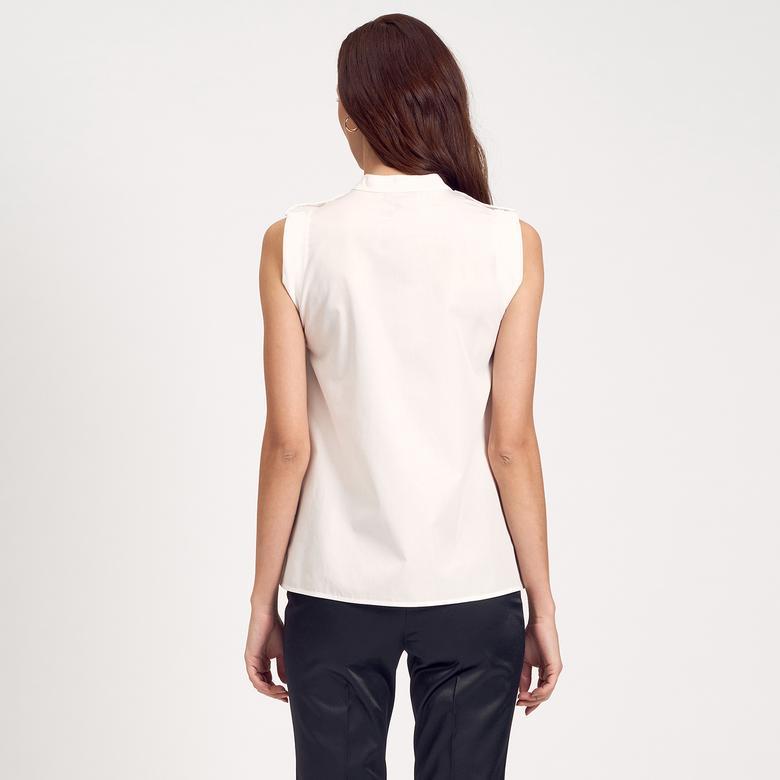 Beyaz Piliseli Kadın Gömlek 1010007346001
