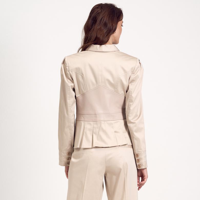 Deri Detaylı Kadın Ceket 1010007157011