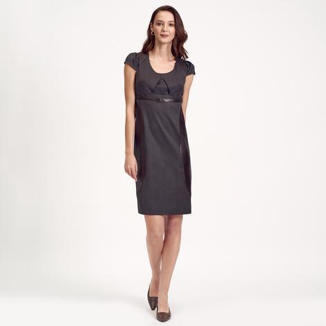 Deri Kombinli Kadın Elbise 1010007227004
