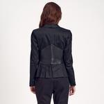 Siyah Deri Detaylı Kadın Ceket 1010007157003