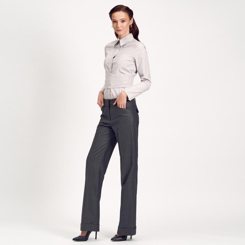 Gri Boru Paça Kadın Pantolon 1010004902004