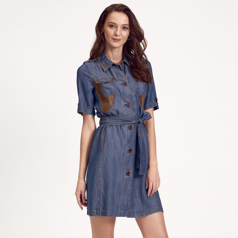 Kadın Gömlek Yakalı Denim Elbise 1010020574003