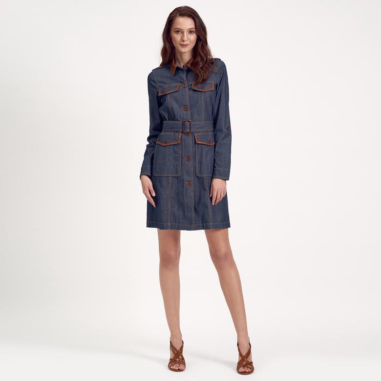 Deri Biyeli Denim Kadın Elbise 1010020575005