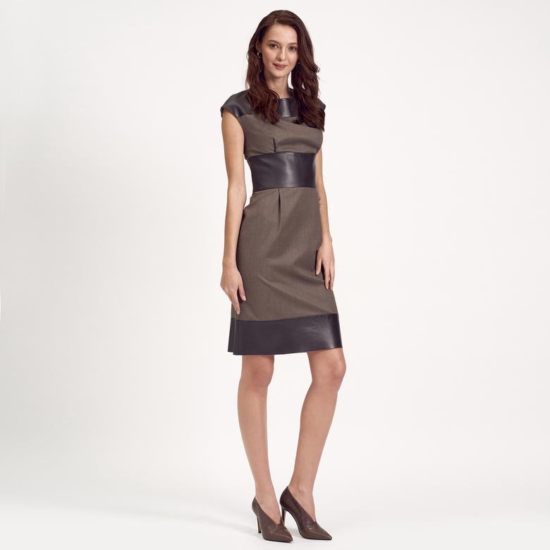 Deri Kombinli Kolsuz Kadın Elbise 1010007224010