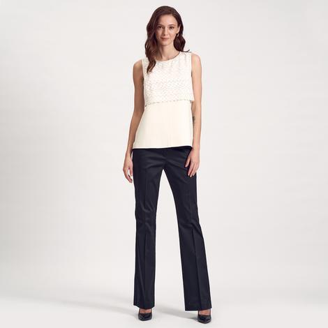 Beyaz Deri Biyeli Kadın Bluz 1010020577009