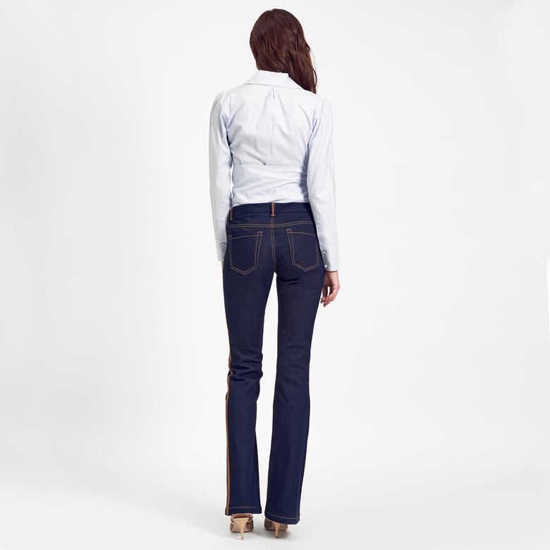 Deri Biyeli Jean Kadın Pantolon 1010020638002