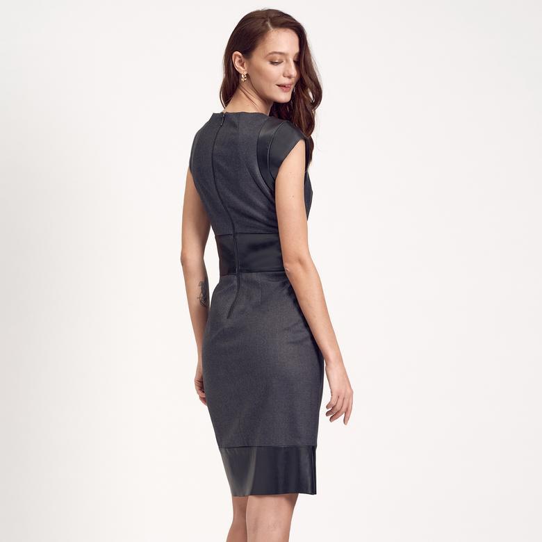 Deri Kombinli Kadın Elbise 1010007223005