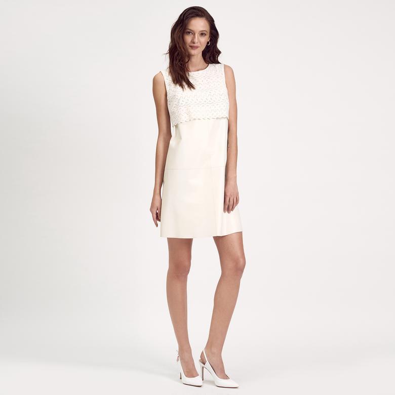 Dantel Detaylı Deri Kadın Elbise 1010020586006