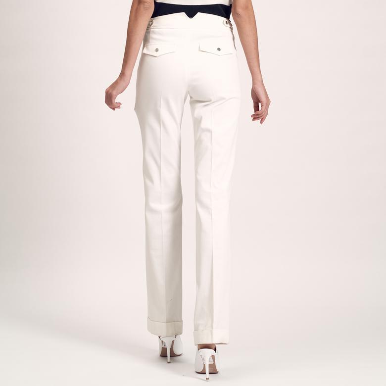 Beyaz Kadın Dokuma Pantolon 1010004925002