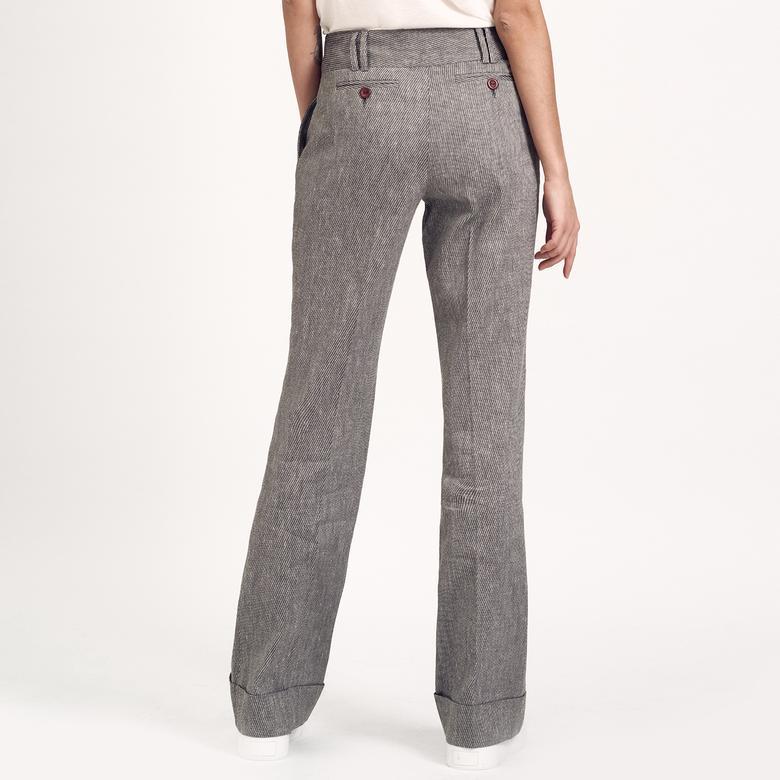 Siyah Keten Kadın Pantolon 2010005951008
