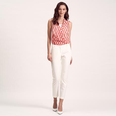 Beyaz Slim Fit Kadın Pantolon 1010007396003