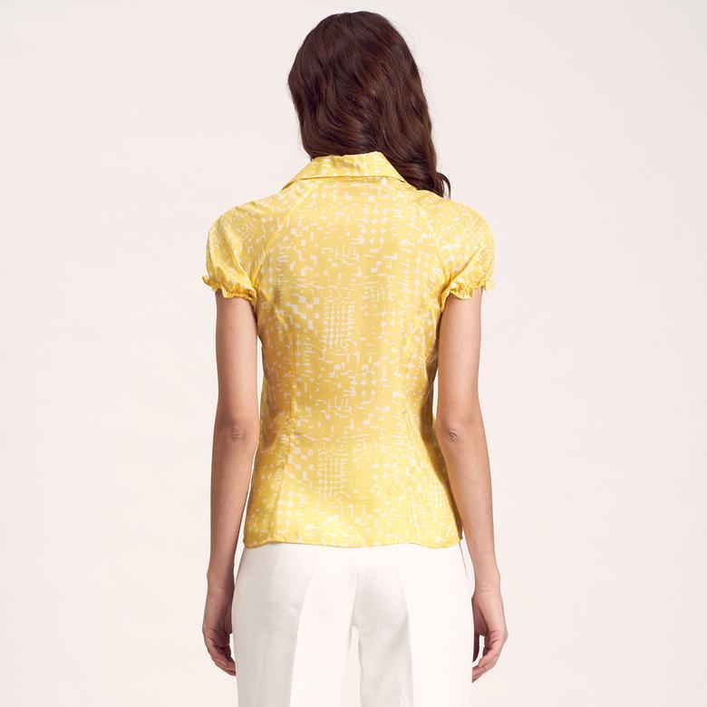 Sarı Kadın İpek Gömlek 1010007309002