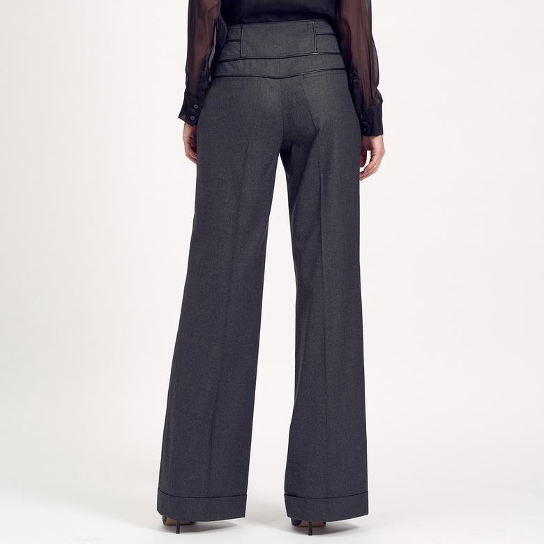 Gri Deri Biyeli Kadın Pantolon 1010007389002