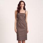 Deri Biyeli Dokuma Kadın Elbise 1010007231002