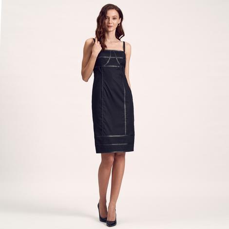 Deri Biyeli Dokuma Kadın Elbise 1010007231008