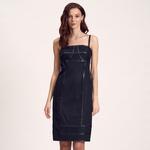 Deri Biyeli Dokuma Kadın Elbise 1010007231010