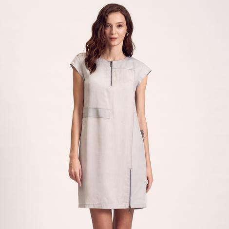 Deri Detaylı Kadın Elbise 1010018443002