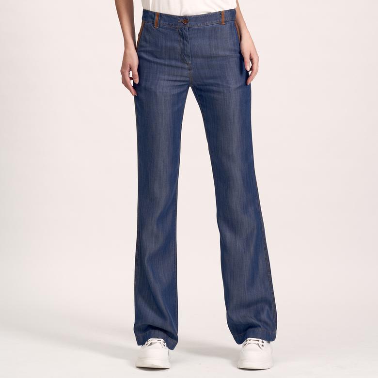 Deri Biyeli Kadın Pantolon 1010020572001