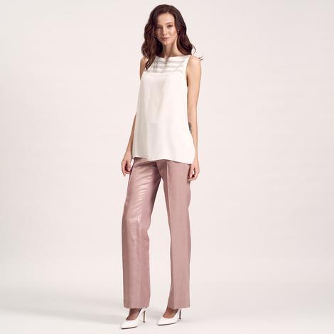 Beyaz Deri Biyeli Kadın Bluz 1010020581014