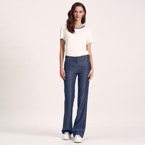 Lacivert Deri Biyeli Kadın Pantolon 1010020572005