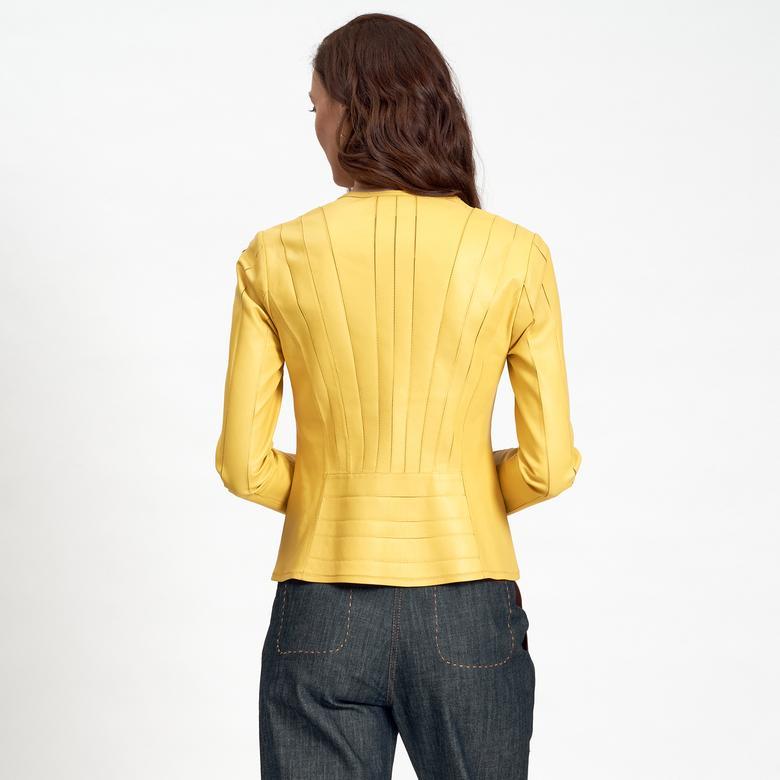 Deundria Kadın Fit Panelli Deri Ceket 1010028621003