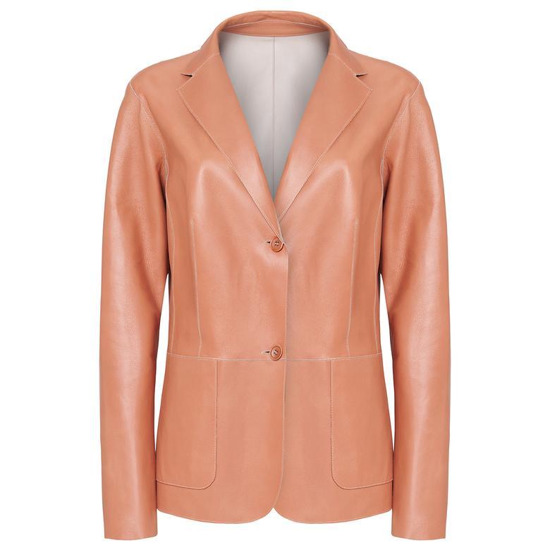 Linda Kadın Çift Taraflı Deri Blazer Ceket 1010031493003