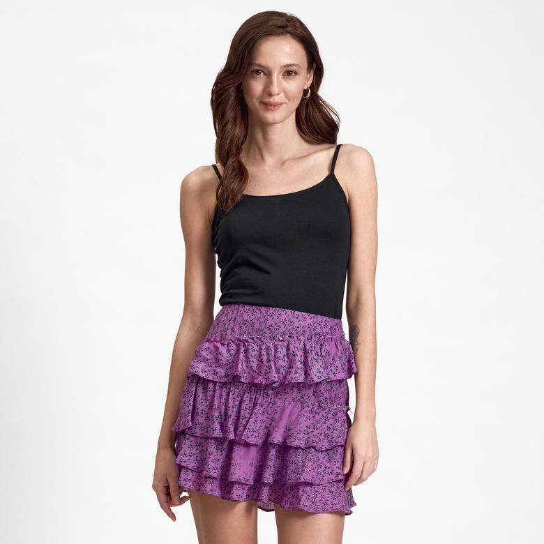 Mor DKNY Jeans Fırfırlı Kadın Etek 2300000805004