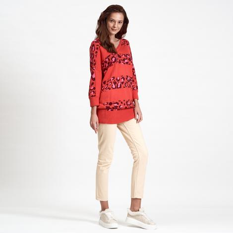 DKNY Jeans Leopar Desenli Kadın Kazak 2300006851010