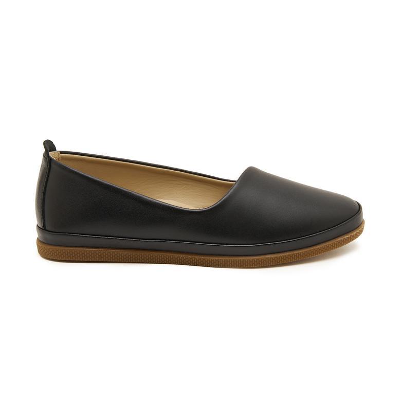 Siyah Kamille Kadın Deri Günlük Ayakkabı 2010047397001