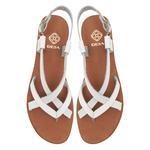 Beyaz Kadın Deri Sandalet 2010047777013