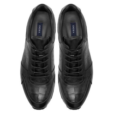 Max Siyah Erkek Deri Spor Ayakkabı 2010047788001