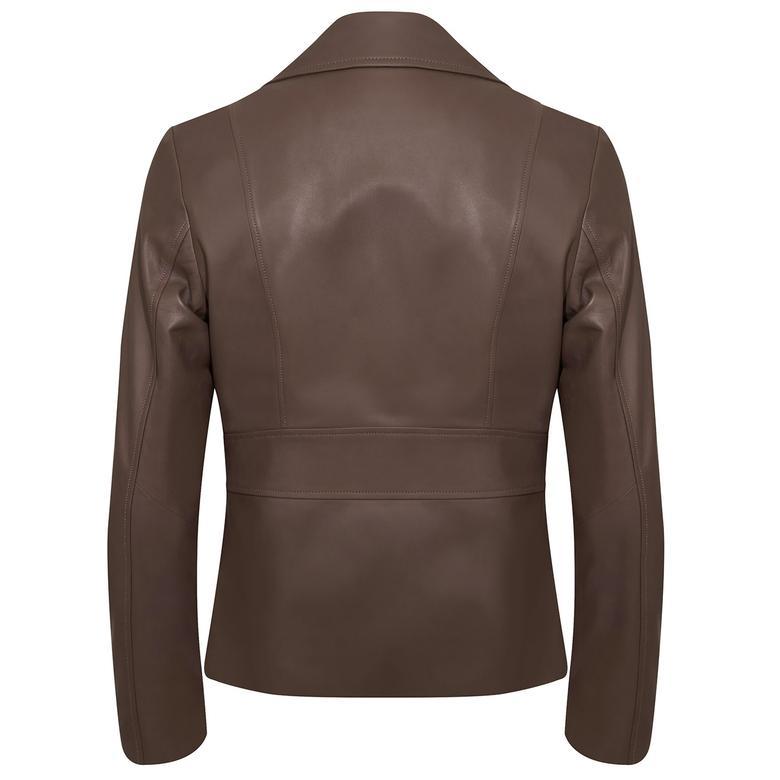 Rania Kadın Vintage Deri Biker Ceket 1010031559001