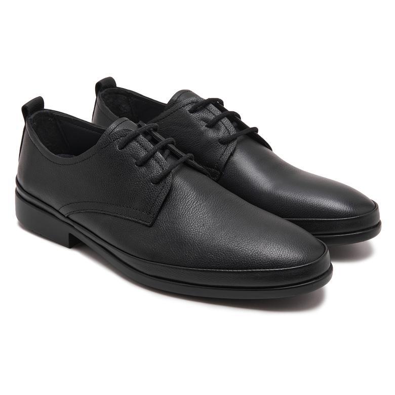 Anas Siyah Erkek Deri Günlük Ayakkabı 2010047919002