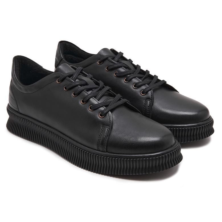 Ermete Siyah Erkek Deri Günlük Ayakkabı 2010048144002